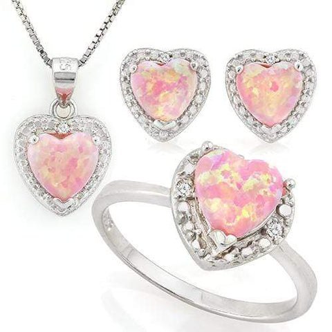 SPARKLING ! 2 2/5 CARAT CREATED PINK FIRE OPAL &  DIAMONDS 925 STERLING SILVER SET - Wholesalekings.com