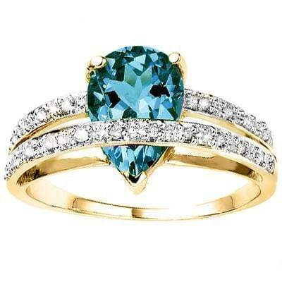 SPARKLING 2.23 CT LONDON BLUE TOPAZ & 20 PCS WHITE DIAMOND 10K SOLID YELLOW GOLD RING wholesalekings wholesale silver jewelry