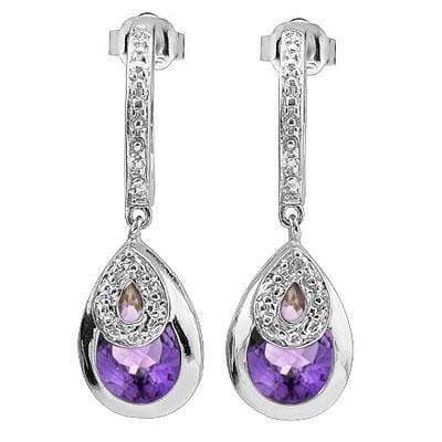 SPARKLING 2.61 CARAT TW AMETHYST & GENUINE DIAMOND PLATINUM OVER 0.925 STERLING SILVER EARRINGS - Wholesalekings.com