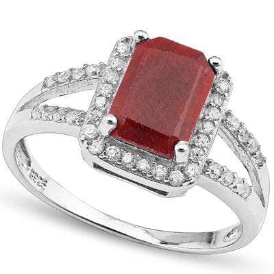 SPARKLING 2.64 CARAT TW DYED GENUINE RUBY & CREATED WHITE SAPPHIRE PLATINUM OVER 0.925 STERLING SILVER RING - Wholesalekings.com