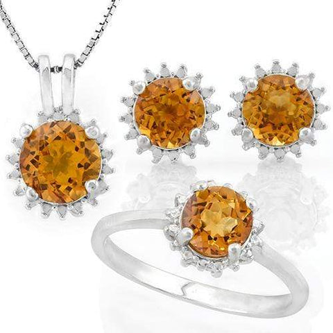 SPARKLING ! 3 3/4 CARAT DARK CITRINE 925 STERLING SILVER SET ( Ring, Earrings and Pendant) - Wholesalekings.com
