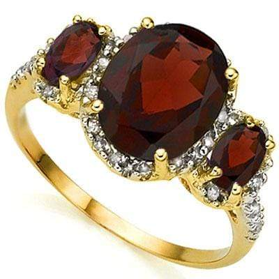 SPARKLING 3.91 CARAT TW (25 PCS) GARNET & GARNET 10K SOLID YELLOW GOLD RING - Wholesalekings.com