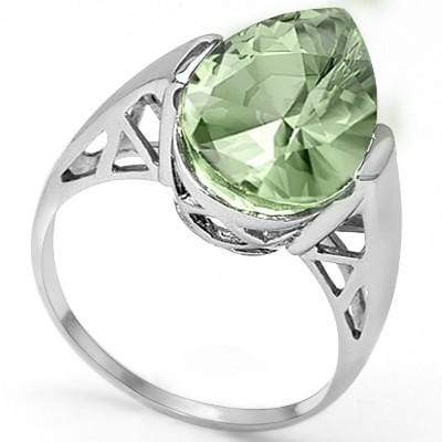 SPARKLING 4.57 CT GREEN AMETHYST PLATINUM OVER 0.925 STERLING SILVER RING - Wholesalekings.com