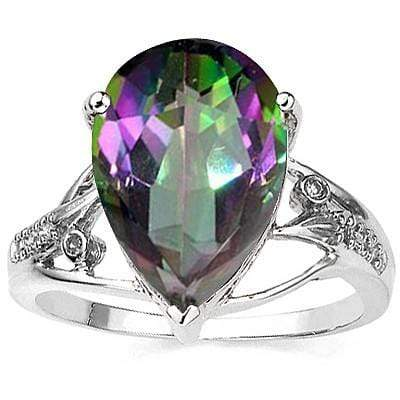 SPARKLING 5.50 CT GREEN MYSTIC GEMSTONE & 2PCS GENUINE DIAMOND PLATINUM OVER 0.925 STERLING SILVER RING - Wholesalekings.com