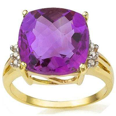 SPARKLING 5.86 CARAT TW (7 PCS) AMETHYST & GENUINE DIAMOND 10K SOLID YELLOW GOLD - Wholesalekings.com