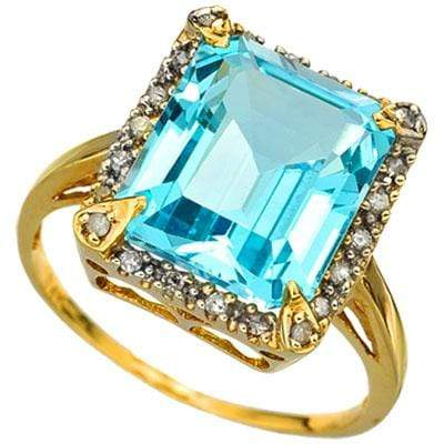 SPARKLING 6.42 CARAT TW (46 PCS) BLUE TOPAZ & GENUINE DIAMOND 10K SOLID YELLOW G - Wholesalekings.com