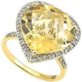 SPARKLING 8.00 CT CITRINE & 33 PCS WHITE DIAMOND 10K SOLID YELLOW GOLD RING - Wholesalekings.com