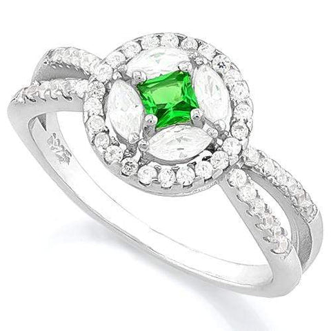SPARKLING! CREATED EMERALD 925 STERLING SILVER RING - Wholesalekings.com