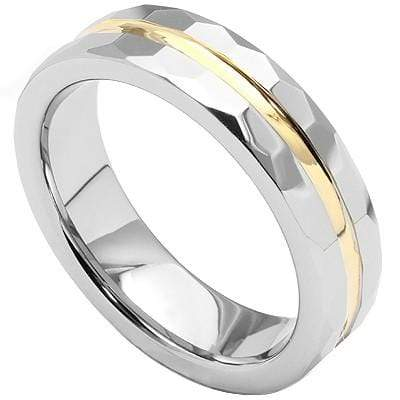 SPARKLING FACETED GOLD INLAY CARBIDE TUNGSTEN RING - Wholesalekings.com