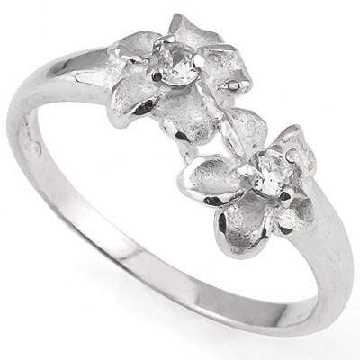 SPARKLING PLUMERIA RING WITH 0.925 STERLING SILVER - Wholesalekings.com