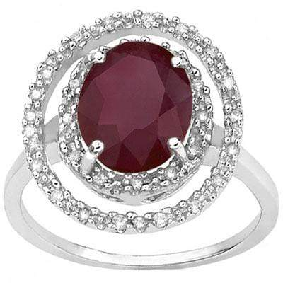 SPECTACULAR 0.14 CT AFRICAN RUBY & 30PCS GENUINE DIAMOND 10K SOLID WHITE GOLD RI - Wholesalekings.com