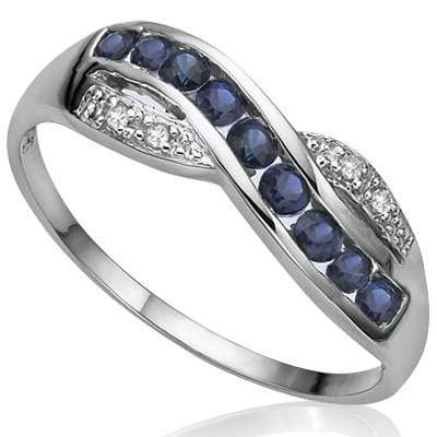 SPECTACULAR 0.44 CT GENUINE SAPPHIRE & 2 PCS WHITE DIAMOND PLATINUM OVER 0.925 STERLING SILVER RING wholesalekings wholesale silver jewelry