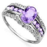 SPECTACULAR 0.80 CT AMETHYST & 8 PCS AMETHYST 0.925 STERLING SILVER W/ PLATINUM  RING wholesalekings wholesale silver jewelry