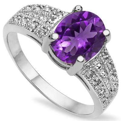 SPECTACULAR 1.25 CT AMETHYST & 2 PCS WHITE DIAMOND 0.925 STERLING SILVER W/ PLATINUM RING wholesalekings wholesale silver jewelry