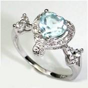 SPECTACULAR 1.25 CT BLUE TOPAZ & 2 PCS WHITE DIAMOND PLATINUM OVER 0.925 STERLING SILVER RING wholesalekings wholesale silver jewelry