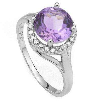 SPECTACULAR 1.72 CT AMETHYST & 2PCS GENUINE DIAMOND PLATINUM OVER 0.925 STERLING SILVER RING - Wholesalekings.com