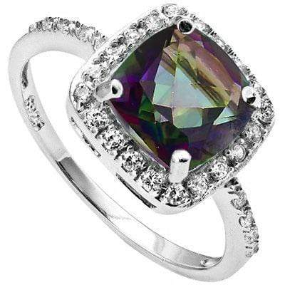 SPECTACULAR 1.98 CARAT TW MYSTIC GEMSTONE & CUBIC ZIRCONIA PLATINUM OVER 0.925 STERLING SILVER RING - Wholesalekings.com