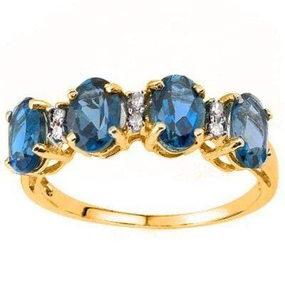 SPECTACULAR 2.16 CT LONDON BLUE TOPAZ & 6 PCS WHITE DIAMOND 10K SOLID YELLOW GOLD RING wholesalekings wholesale silver jewelry
