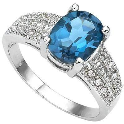 SPECTACULAR 2.18 CT LONDON BLUE TOPAZ & 16 PCS WHITE DIAMOND 10K SOLID WHITE GOLD RING wholesalekings wholesale silver jewelry