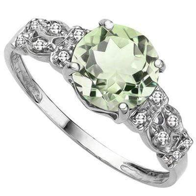 SPECTACULAR 2.321 CARAT TW (3 PCS) GREEN AMETHYST & GENUINE DIAMOND PLATINUM OVER 0.925 STERLING SILVER RING - Wholesalekings.com