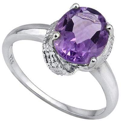 SPECTACULAR 2.55 CT AMETHYST & 2 PCS WHITE DIAMOND PLATINUM OVER 0.925 STERLING SILVER RING wholesalekings wholesale silver jewelry