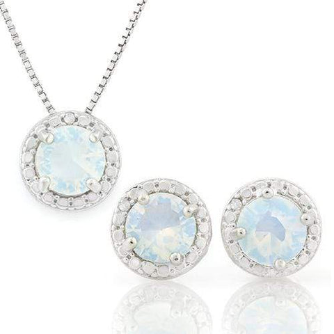 SPECTACULAR !  2 CARAT CREATED FIRE OPAL &   DIAMOND 925 STERLING SILVER SET - Wholesalekings.com