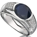 SPECTACULAR 3.24 CARAT TW GENUINE BLACK SAPPHIRE & GENUINE DIAMOND PLATINUM OVER 0.925 STERLING SILVER RING - Wholesalekings.com