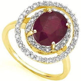 SPECTACULAR 3.3 CARAT TW (19 PCS) GENUINE RUBY & GENUINE DIAMOND 14K SOLID YELLO - Wholesalekings.com