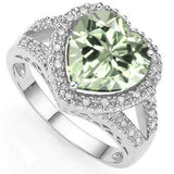 SPECTACULAR 3.31 CARAT TW GREEN AMETHYST & GENUINE DIAMOND PLATINUM OVER 0.925 STERLING SILVER RING - Wholesalekings.com