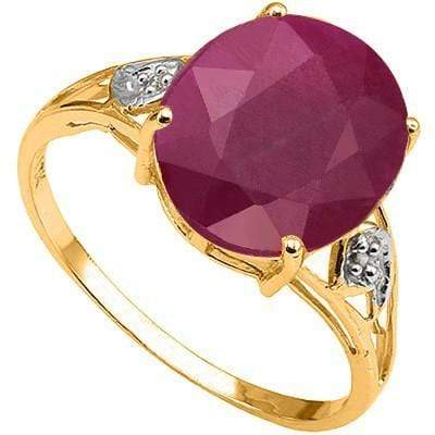 SPECTACULAR 3.91 CT GENUINE RUBY & 2 PCS GENUINE DIAMOND 10K SOLID YELLOW GOLD R - Wholesalekings.com