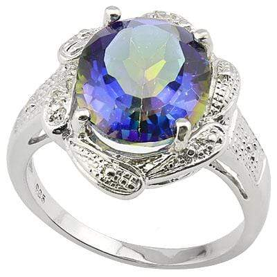 SPECTACULAR 4.007 CARAT OCEAN MYSTIC GEMSTONE & GENUINE DIAMOND PLATINUM OVER 0.925 STERLING SILVER RING - Wholesalekings.com