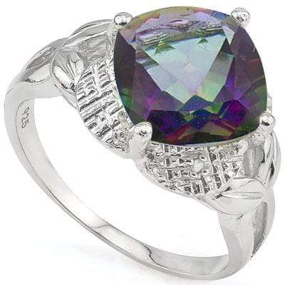 SPECTACULAR 4.01 CARAT TW (3 PCS) MYSTIC GEMSTONE & GENUINE DIAMOND PLATINUM OVER 0.925 STERLING SILVER RING - Wholesalekings.com
