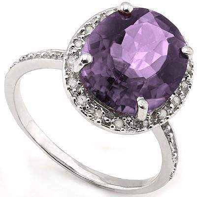 SPECTACULAR 4.01 CT AMETHYST & 2 PCS WHITE DIAMOND 0.925 STERLING SILVER W/ PLATINUM RING wholesalekings wholesale silver jewelry