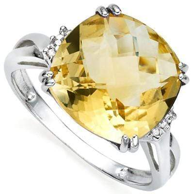 SPECTACULAR 6.32 CT CITRINE & 2 PCS WHITE DIAMOND 0.925 STERLING SILVER W/ PLATINUM RING wholesalekings wholesale silver jewelry