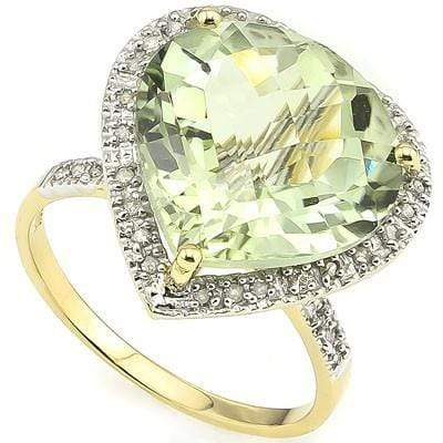 SPECTACULAR 8.20 CT GREEN AMETHYST & 33 PCS WHITE DIAMOND 10K SOLID YELLOW GOLD - Wholesalekings.com