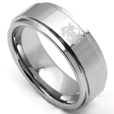 SPECTACULAR BEVEL EDGE SATIN POLISH FINISH CARBIDE TUNGSTEN RING - Wholesalekings.com