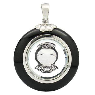 SPECTACULAR ROTATABLE ANGEL WITH BLACK AGATE WHITE GERMAN SILVER PENDANT (25MM) - Wholesalekings.com