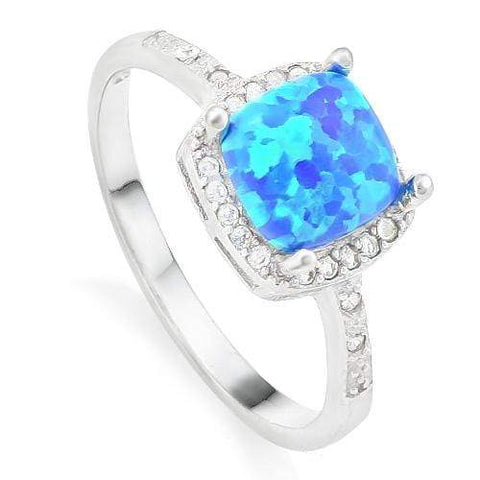 SPLENDID ! 2/3 CARAT CREATED BLUE FIRE OPAL & 1/5 CARAT (24 PCS) CREATED WHITE SAPPHIRE 925 STERLING SILVER RING - Wholesalekings.com