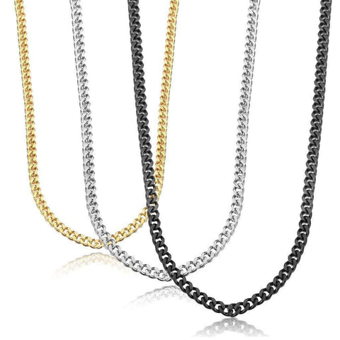 Stainless Steel Link Curb Chain Necklace for Men Women 5mm (3 Pcs a set, 10 sets - Wholesalekings.com