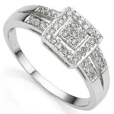 STUNNING 0.029 CARAT TW (5 PCS) GENUINE DIAMOND PLATINUM OVER 0.925 STERLING SILVER RING - Wholesalekings.com