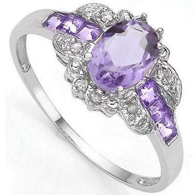 STUNNING 0.80 CT AMETHYST & 6 PCS AMETHYST 0.925 STERLING SILVER W/ PLATINUM  RING wholesalekings wholesale silver jewelry
