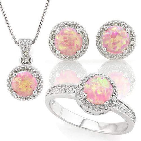 STUNNING ! 1 4/5 CARAT CREATED PINK FIRE OPAL & DIAMOND 925 STERLING SILVER SET - Wholesalekings.com