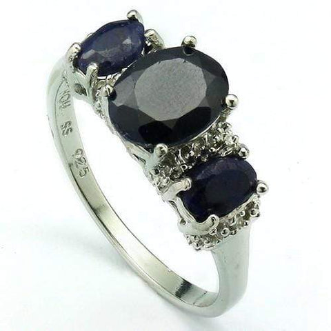 STUNNING 1.55 CT DYED SAPPHIRE & 2 PCS DIAMOND IN PLATINUM OVER 0.925 STERLING SILVER RING wholesalekings wholesale silver jewelry