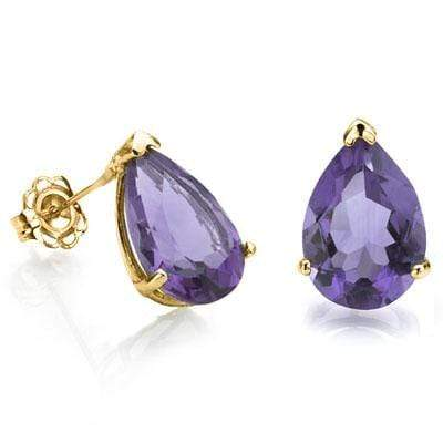 STUNNING 1 CARAT TW (2 PCS) AMETHYST 10K SOLID YELLOW GOLD EARRINGS - Wholesalekings.com