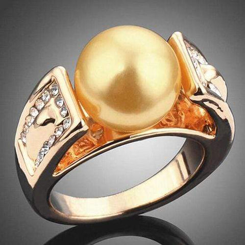 STUNNING ! 18K GOLD PLATED MAN-MAKE GOLDEN PEARL DESIGNER RING - Wholesalekings.com