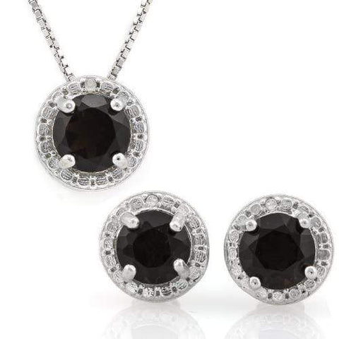 STUNNING ! 2 1/4 CARAT SMOKEY TOPAZ & DIAMOND 925 STERLING SILVER SET - Wholesalekings.com