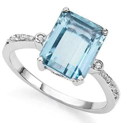 STUNNING 4.00 CT BLUE TOPAZ & 2 PCS WHITE DIAMOND 0.925 STERLING SILVER W/ PLATINUM RING wholesalekings wholesale silver jewelry