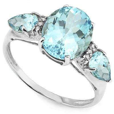 STUNNING 4.21 CARAT TW (5 PCS) BLUE TOPAZ & BLUE TOPAZ PLATINUM OVER 0.925 STERLING SILVER RING - Wholesalekings.com