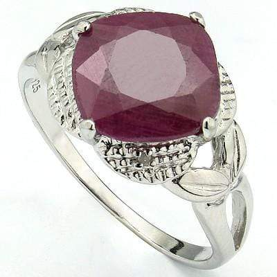 STUNNING 4.50 CT GENUINE RUBY & 2 PCS WHITE DIAMOND PLATINUM OVER 0.925 STERLING SILVER RING wholesalekings wholesale silver jewelry