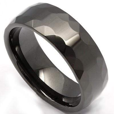 STUNNING FACETED BLACK ION CARBIDE TUNGSTEN RING wholesalekings wholesale silver jewelry